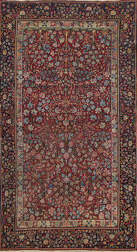Pre-1900 Antique Vegetable Dye Kerman Persian Area Rug 4x7