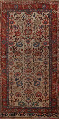 Pre-1900 Antique Vegetable Dye Bidjar Persian Area Rug 4x8
