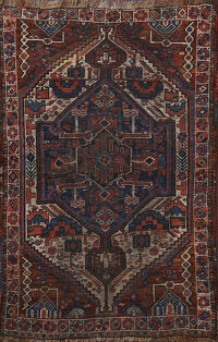 Pre-1900 Antique Qashqai Persian Area Rug 3x5