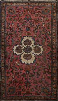 Pre-1900 Antique Vegetable Dye Lilian Persian Area Rug 5x7