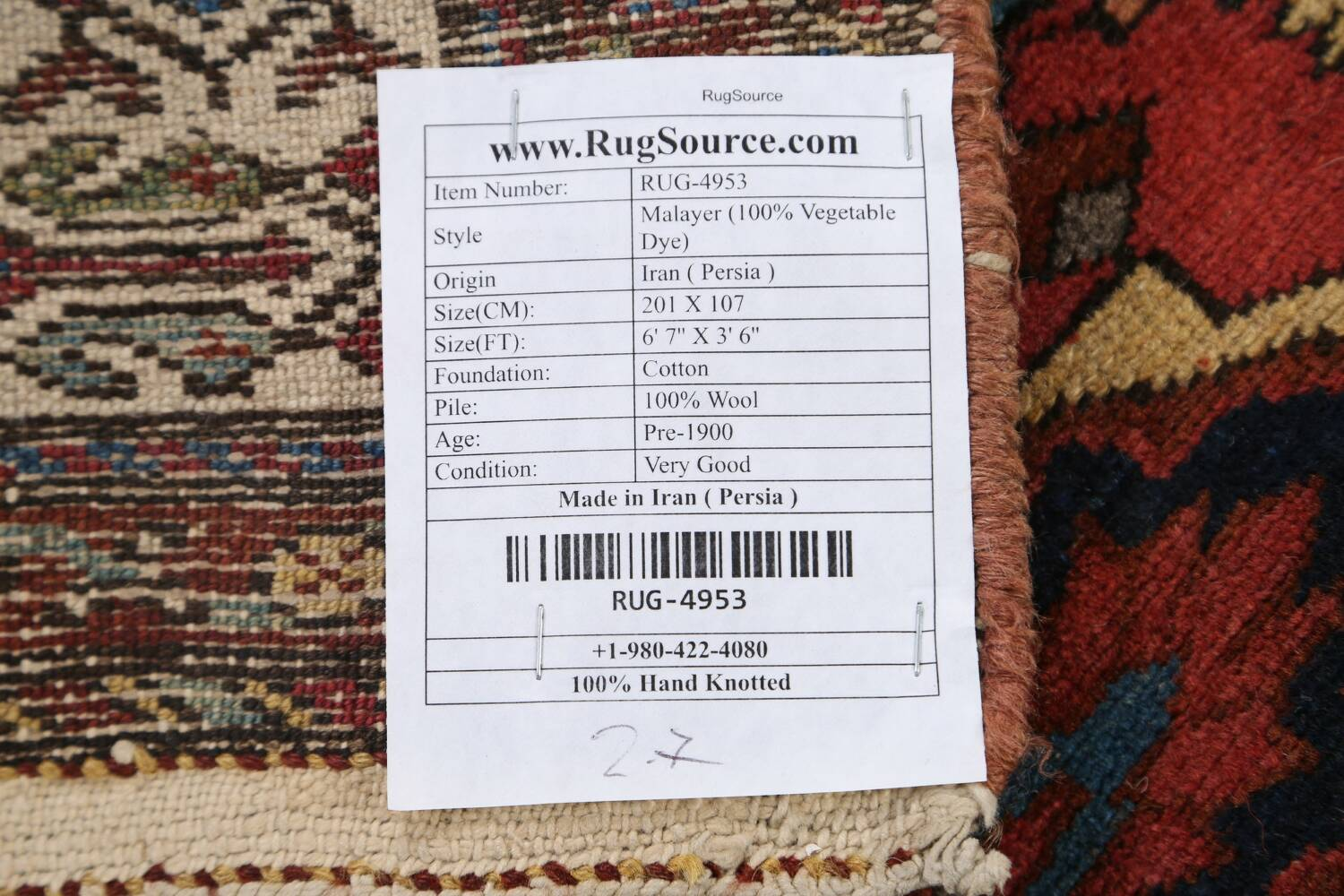 Pre-1900 Antique Vegetable Dye Malayer Persian Area Rug 4x7 image 22