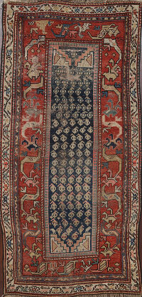 Pre-1900 Antique Vegetable Dye Malayer Persian Area Rug 4x6