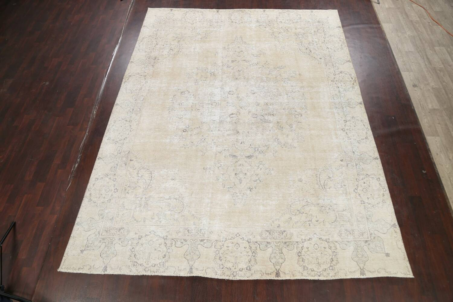 Muted Distressed Tabriz Persian Area Rug 10x12 image 2