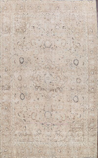 Distressed Floral Mashad Persian Area Rug 10x13
