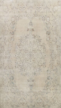 Distressed Floral Kashan Persian Area Rug 10x15