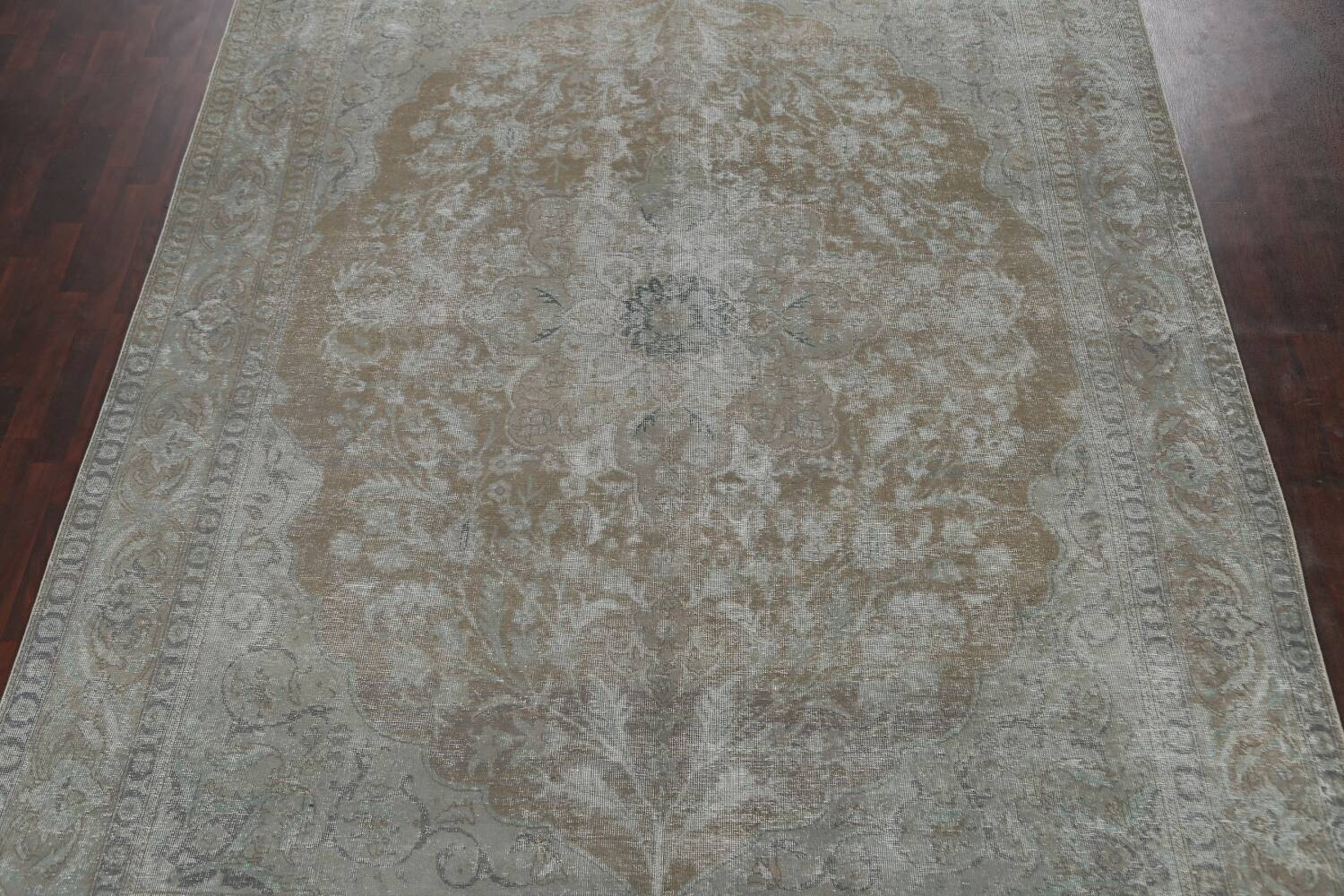 Muted Distressed Tabriz Persian Area Rug 10x13 image 3