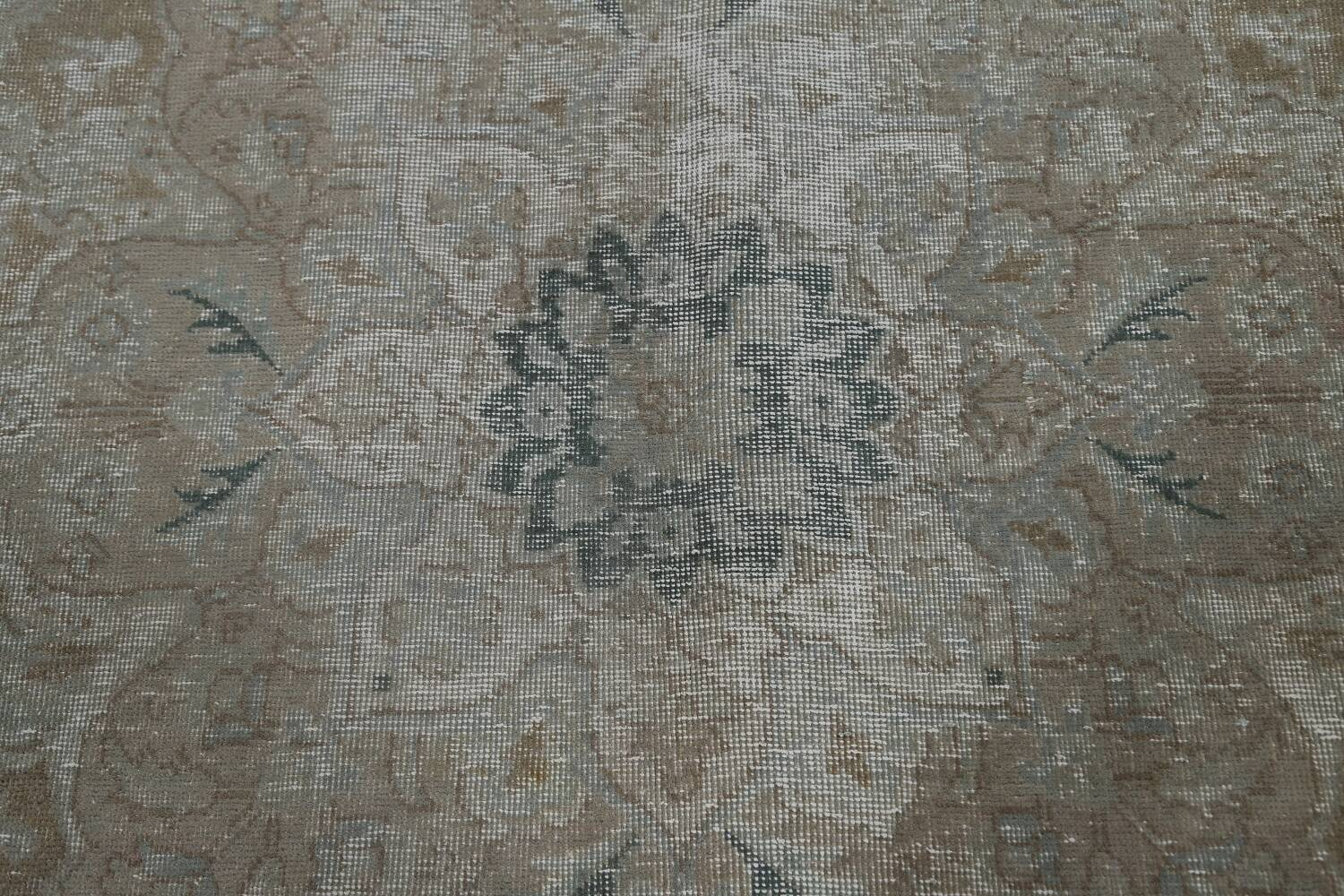 Muted Distressed Tabriz Persian Area Rug 10x13 image 12