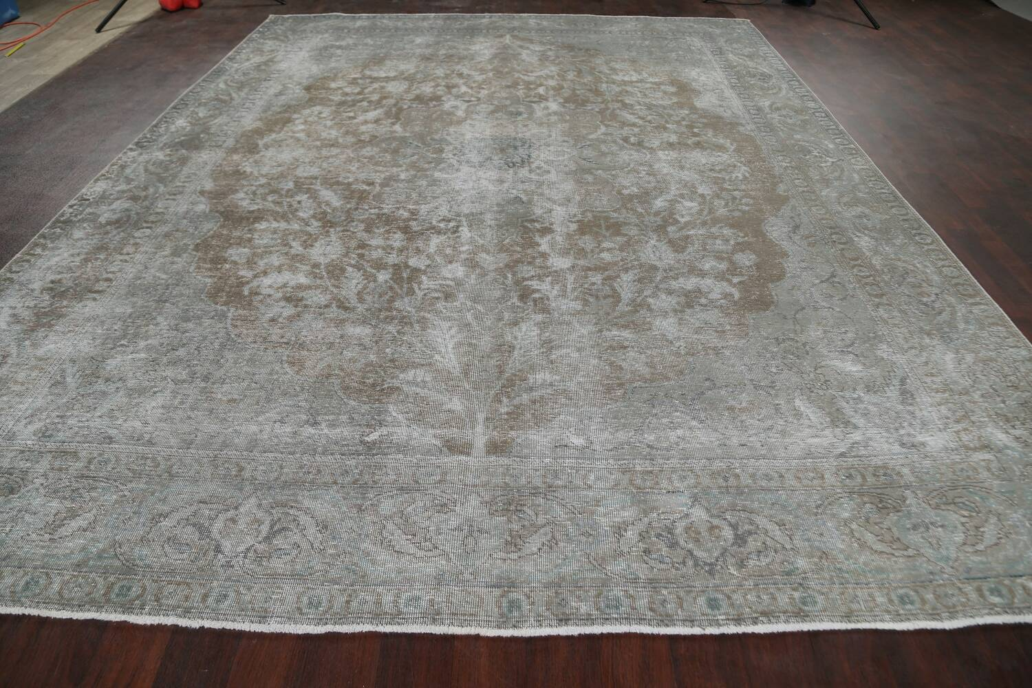 Muted Distressed Tabriz Persian Area Rug 10x13 image 16