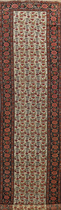 Pre-1900 Antique Vegetable Dye Malayer Persian Runner Rug 3x16