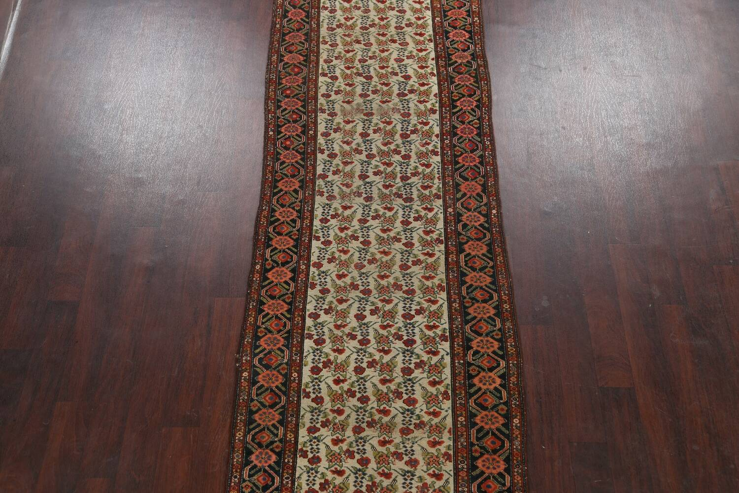 Pre-1900 Antique Vegetable Dye Malayer Persian Runner Rug 3x16 image 3