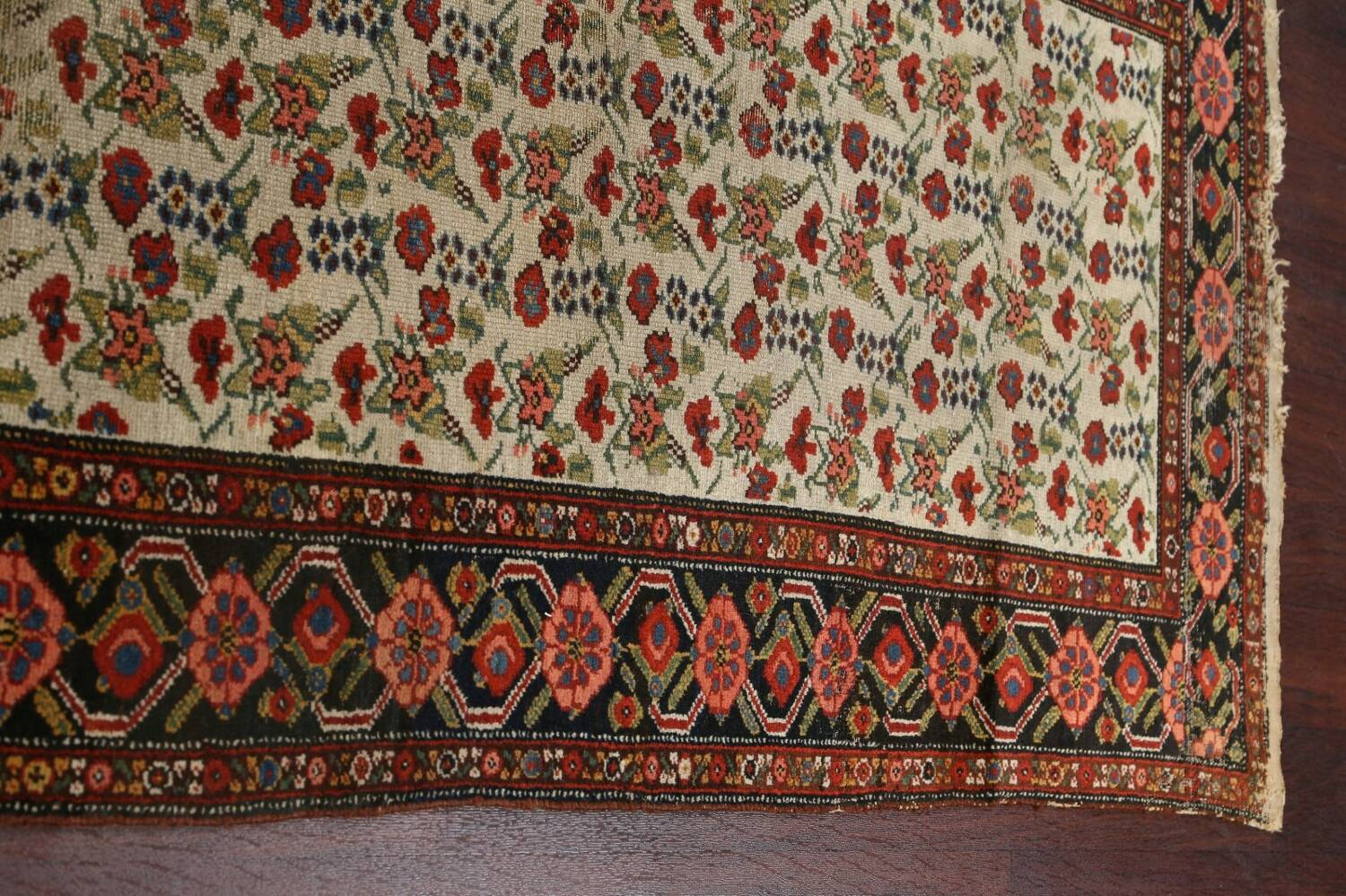 Pre-1900 Antique Vegetable Dye Malayer Persian Runner Rug 3x16 image 12