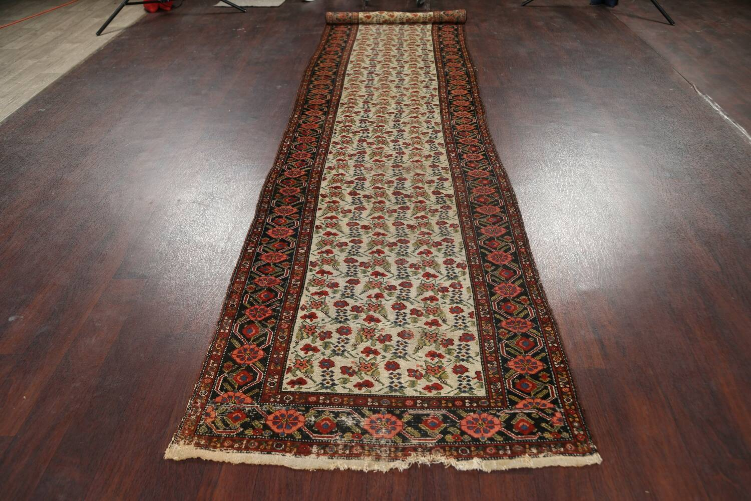Pre-1900 Antique Vegetable Dye Malayer Persian Runner Rug 3x16 image 14