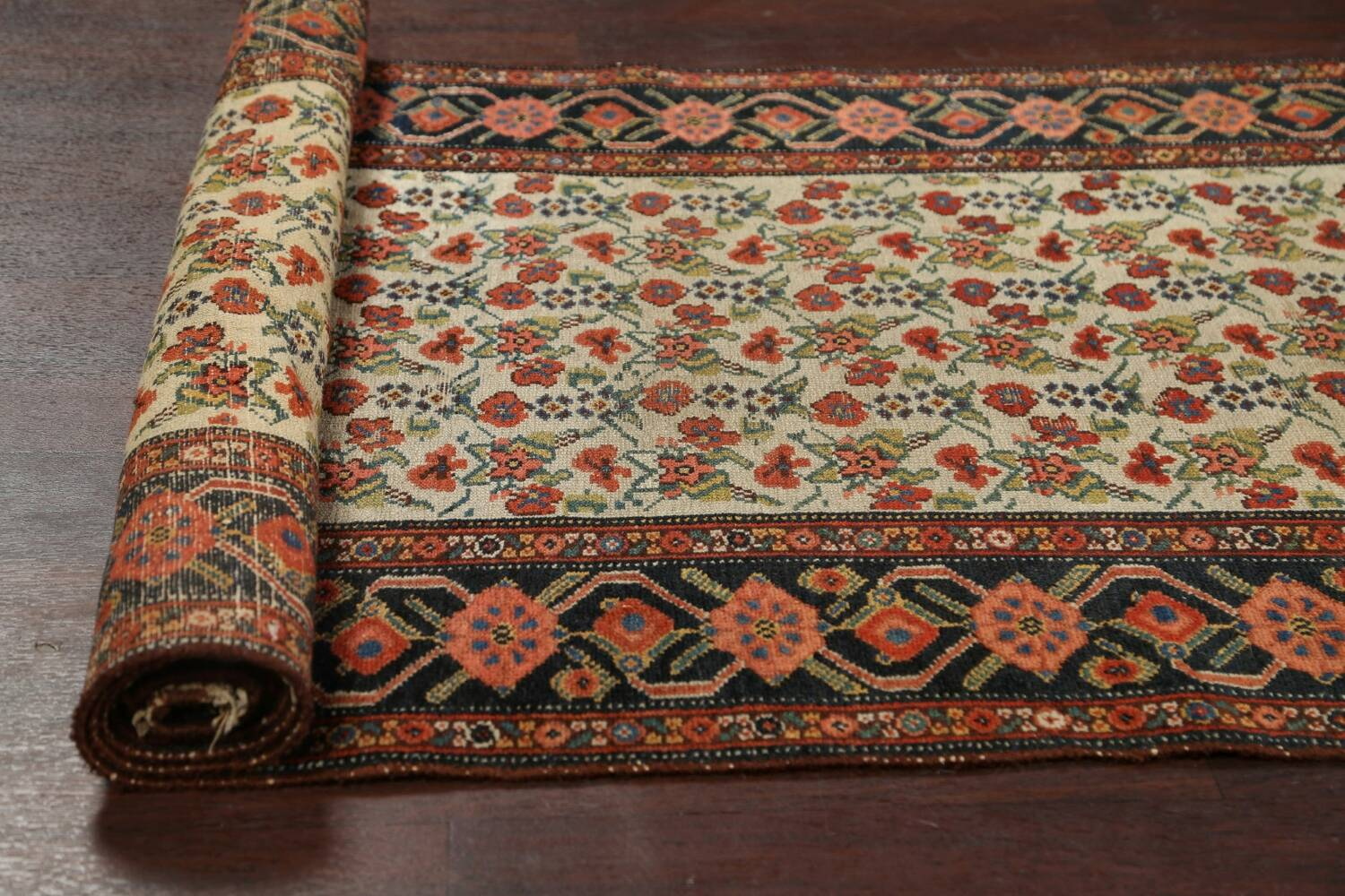 Pre-1900 Antique Vegetable Dye Malayer Persian Runner Rug 3x16 image 16
