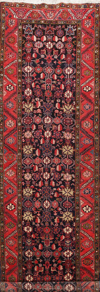 Antique Geometric Heriz Persian Runner Rug 4x13