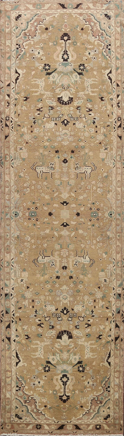 Animal Pictorial Malayer Persian Runner Rug 3x12 image 1