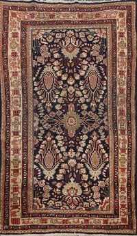 Antique Vegetable Dye Mahal Sarouk Persian Area Rug 4x7