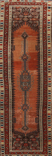 Pre-1900 Antique Vegetable Dye Malayer Persian Runner Rug 4x10