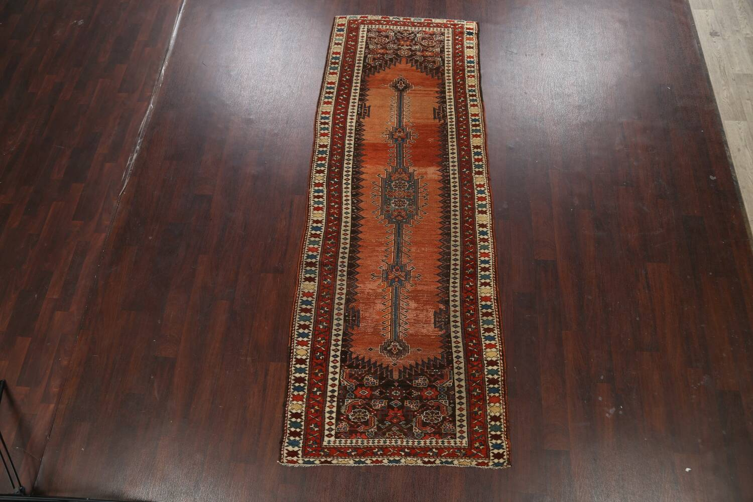 Pre-1900 Antique Vegetable Dye Malayer Persian Runner Rug 4x10 image 2