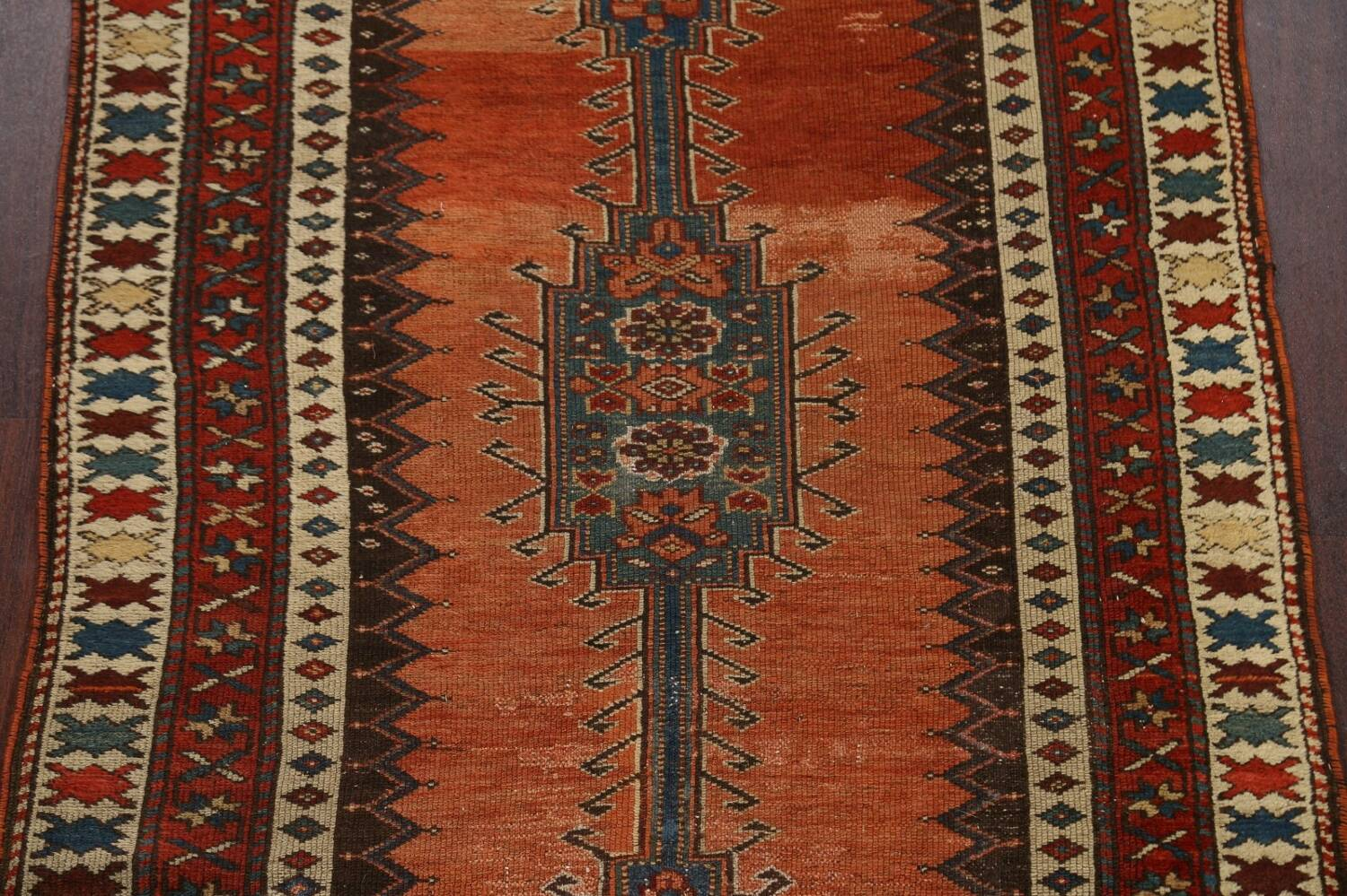 Pre-1900 Antique Vegetable Dye Malayer Persian Runner Rug 4x10 image 4