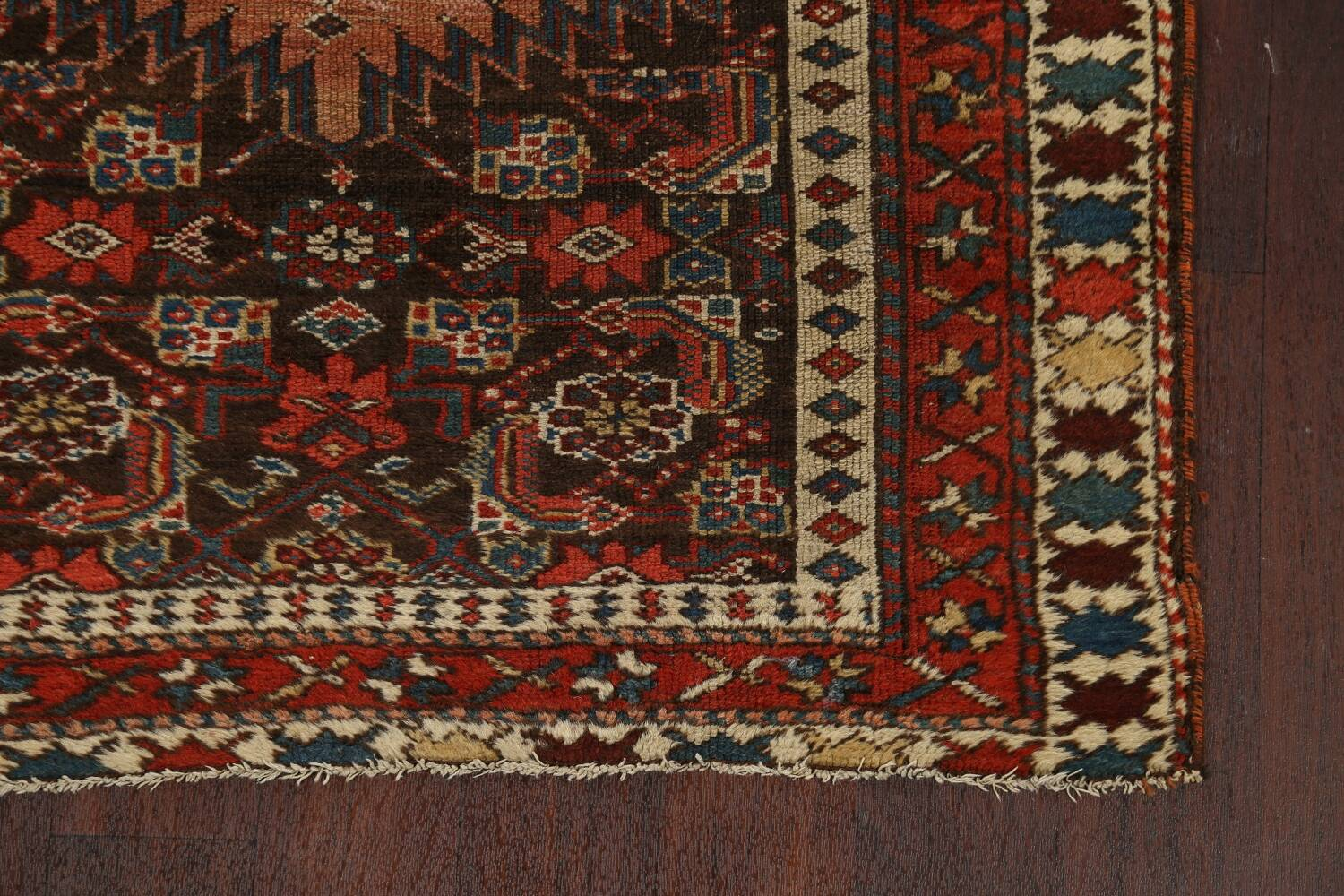 Pre-1900 Antique Vegetable Dye Malayer Persian Runner Rug 4x10 image 5