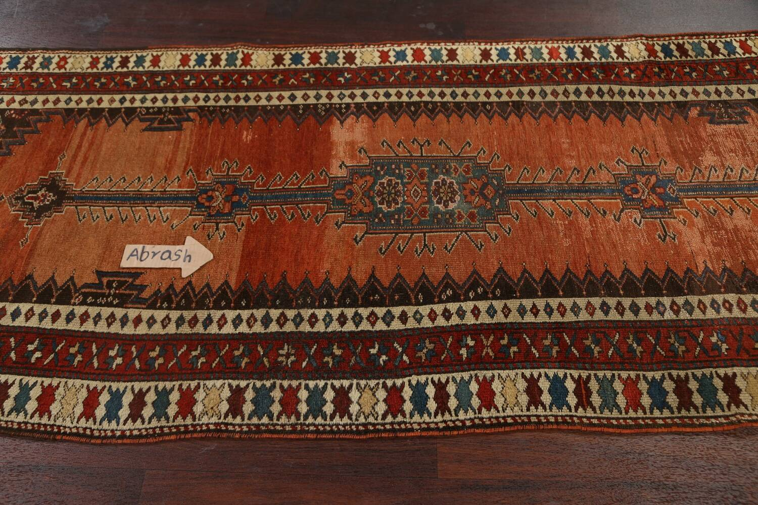 Pre-1900 Antique Vegetable Dye Malayer Persian Runner Rug 4x10 image 12