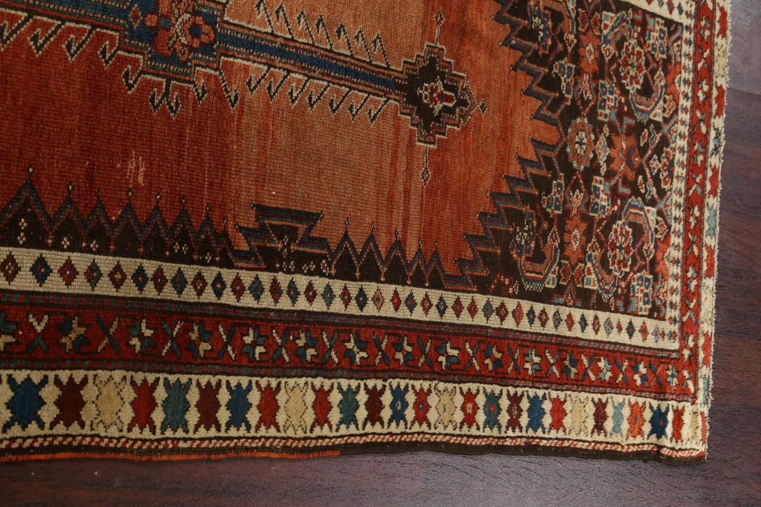 Pre-1900 Antique Vegetable Dye Malayer Persian Runner Rug 4x10 image 13