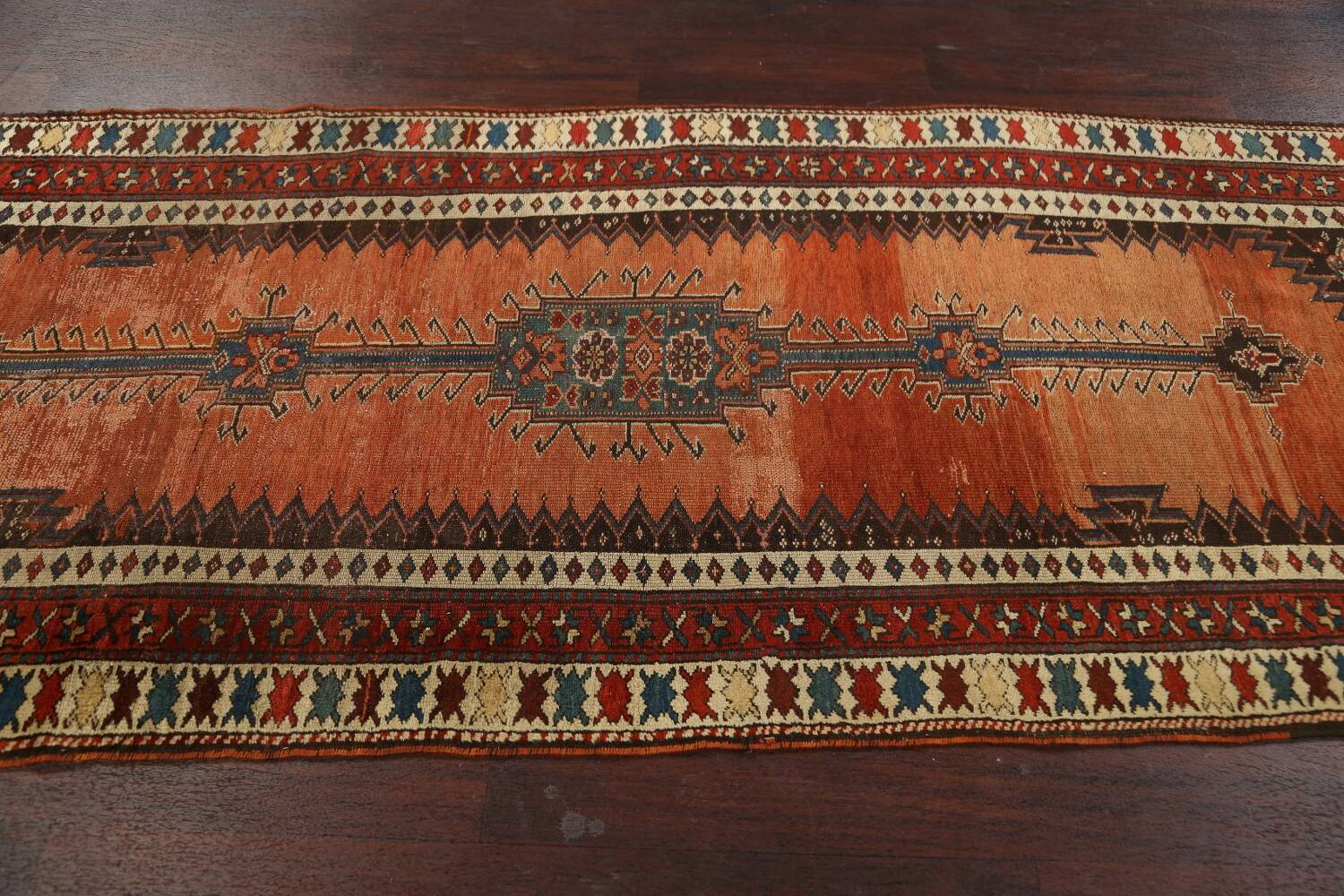 Pre-1900 Antique Vegetable Dye Malayer Persian Runner Rug 4x10 image 14