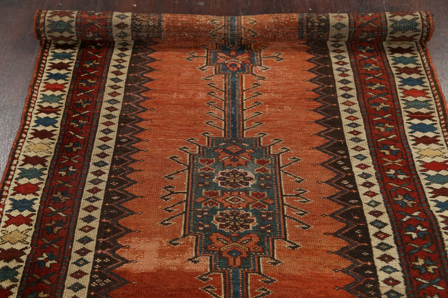 Pre-1900 Antique Vegetable Dye Malayer Persian Runner Rug 4x10 image 16