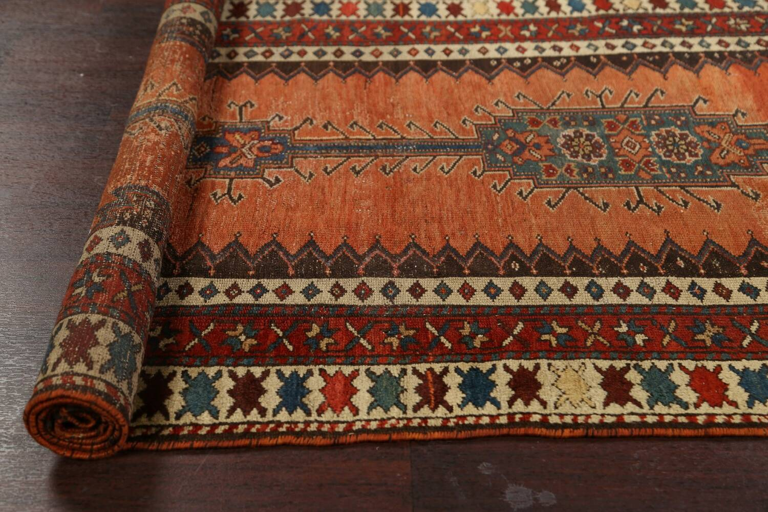 Pre-1900 Antique Vegetable Dye Malayer Persian Runner Rug 4x10 image 17