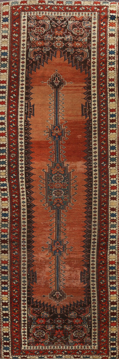 Pre-1900 Antique Vegetable Dye Malayer Persian Runner Rug 4x10 image 1