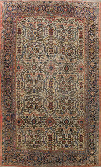 Pre-1900 Antique Vegetable Dye Sultanabad Persian Area Rug 10x13