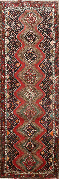 Tribal Geometric Hamedan Persian Runner Rug 4x11