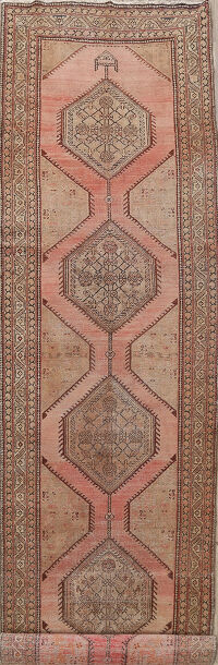 Pre-1900 Antique Geometric Meshkin Persian Area Rug 4x17