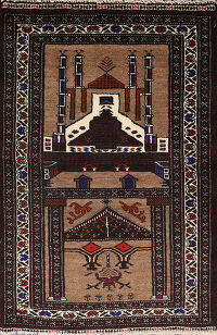 Square Brown Balouch Oriental Area Rug 3x3