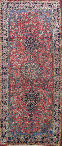 Antique Vegetable Dye Kerman Persian Area Rug 6x15