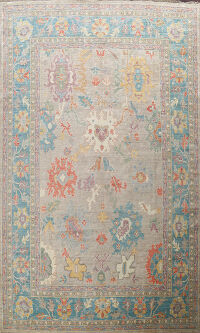 Floral Vegetable Dye Oushak Oriental Area Rug 9x12