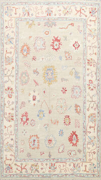 Vegetable Dye Floral Oushak Oriental Area Rug 6x9