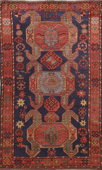 Antique Tribal Geometric Kazak Oriental Area Rug 4x6