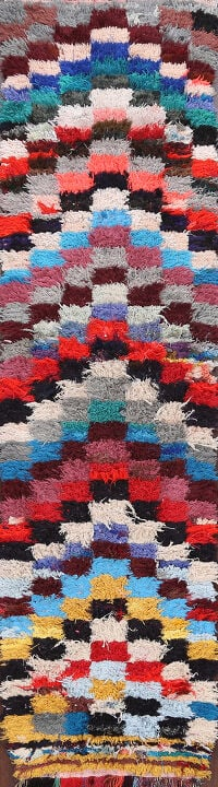 All-Over Checkered Moroccan Oriental Runner Rug 2x9
