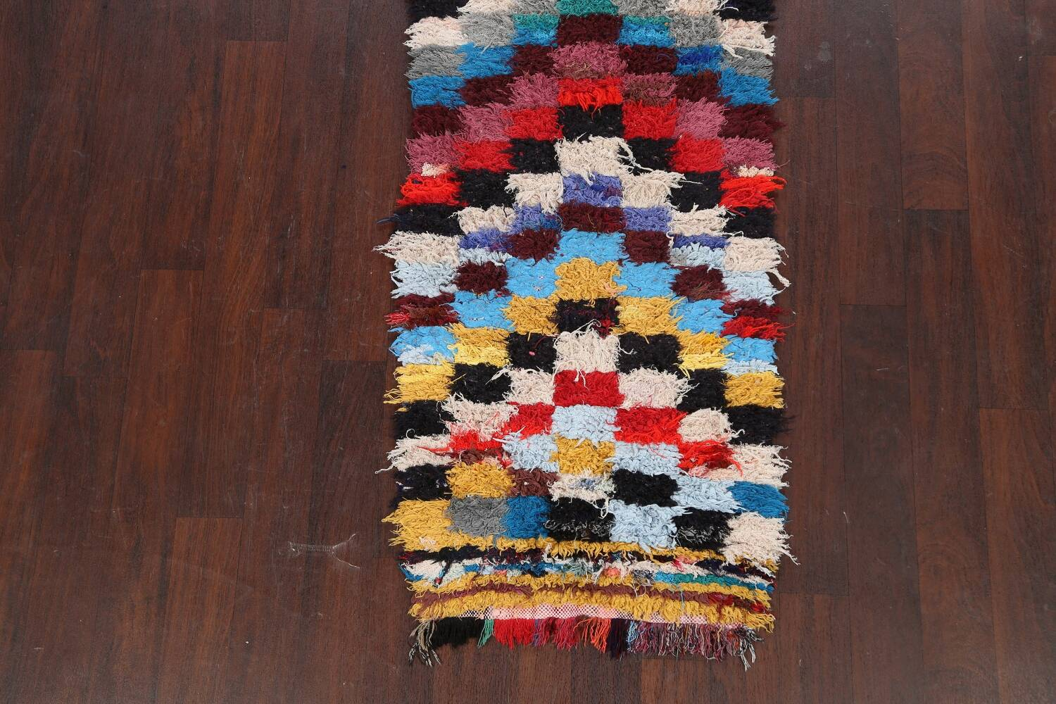 All-Over Checkered Moroccan Oriental Runner Rug 2x9 image 8