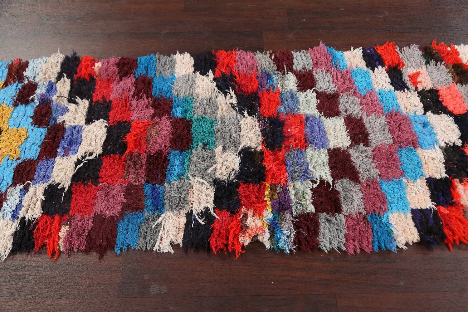 All-Over Checkered Moroccan Oriental Runner Rug 2x9 image 11