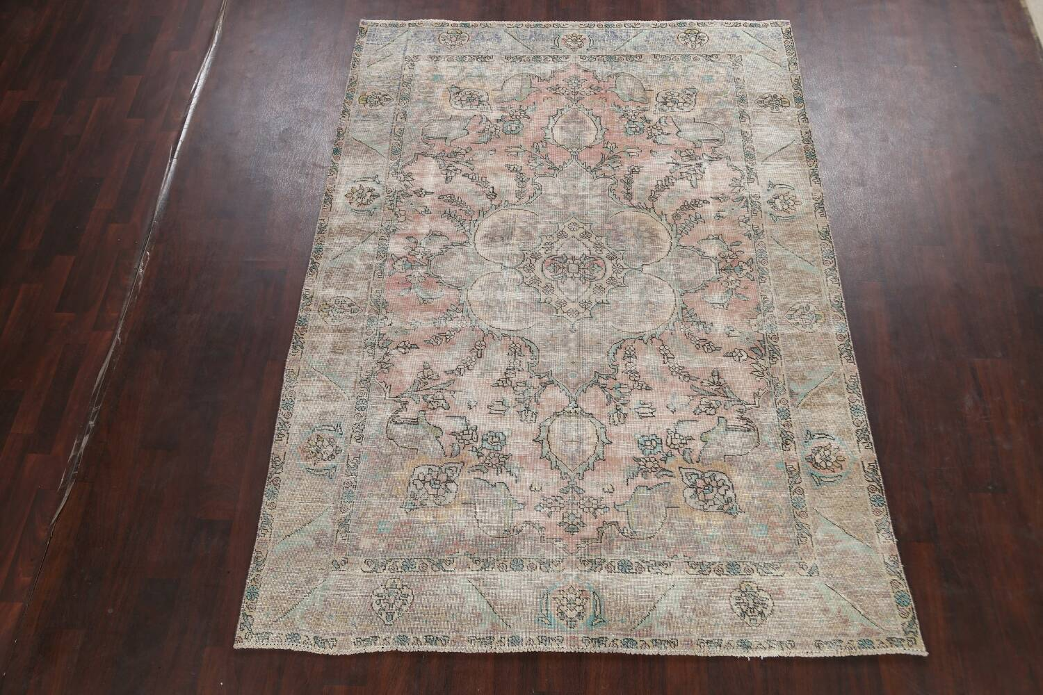 Muted Distressed Tabriz Persian Area Rug 7x9 image 2