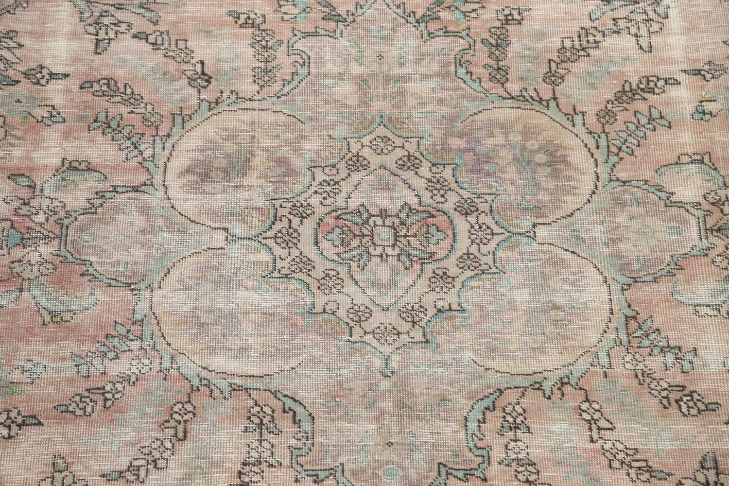 Muted Distressed Tabriz Persian Area Rug 7x9 image 4