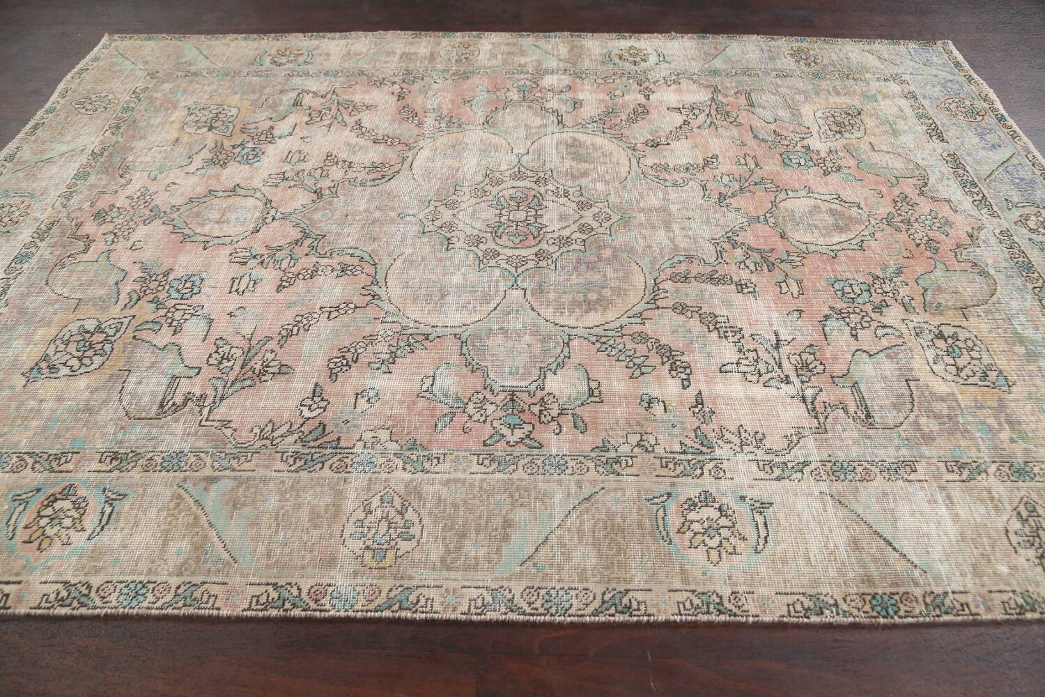 Muted Distressed Tabriz Persian Area Rug 7x9 image 14