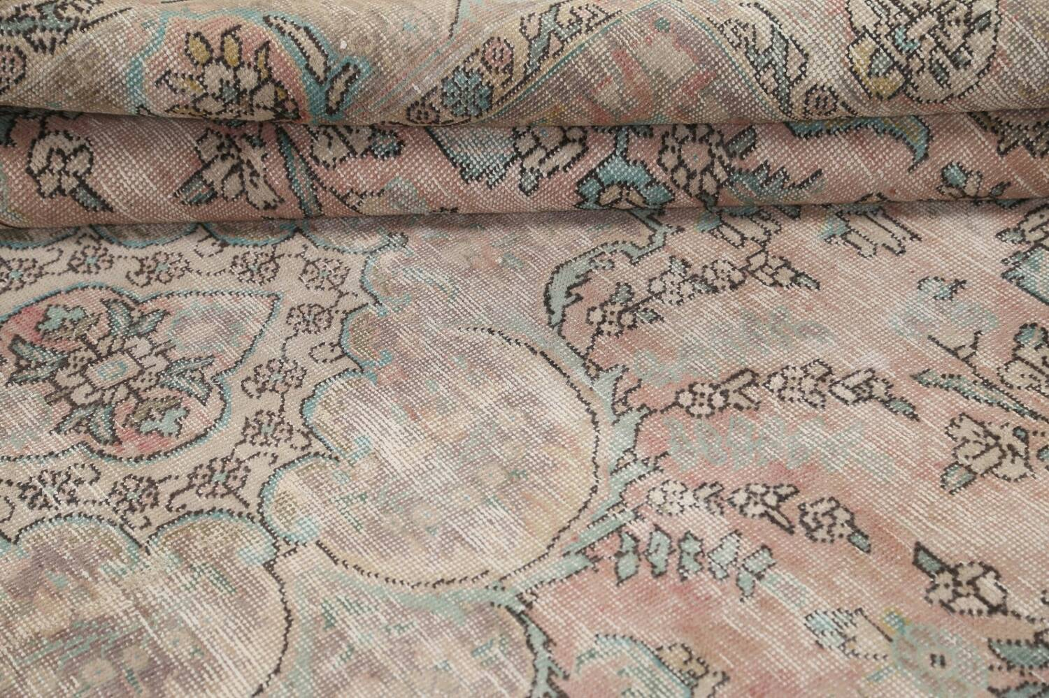 Muted Distressed Tabriz Persian Area Rug 7x9 image 16