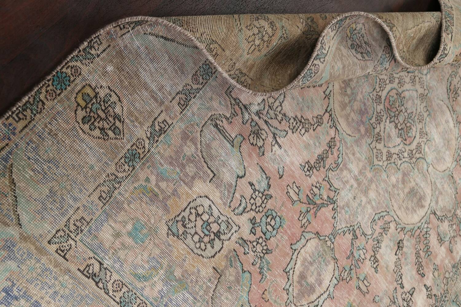 Muted Distressed Tabriz Persian Area Rug 7x9 image 17
