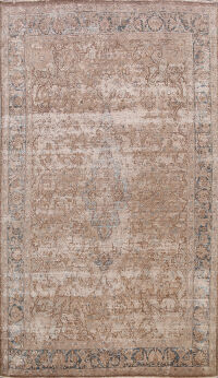 Muted Distressed Mashad Persian Area Rug 7x10
