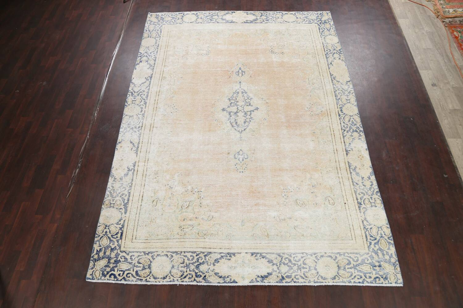 Muted Distressed Kerman Persian Area Rug 8x12 image 2