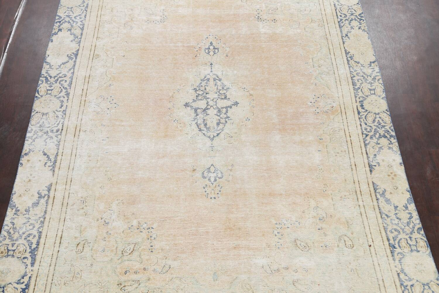 Muted Distressed Kerman Persian Area Rug 8x12 image 3