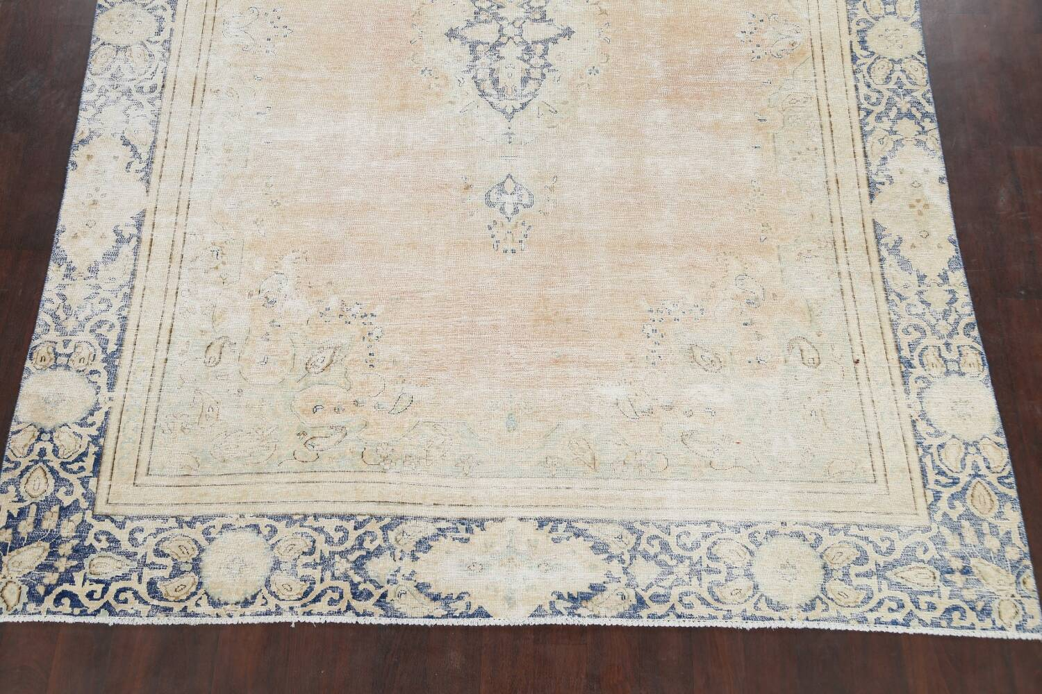 Muted Distressed Kerman Persian Area Rug 8x12 image 8